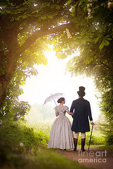 Victorian Couple Walking In The Countryside  by Lee Avison
