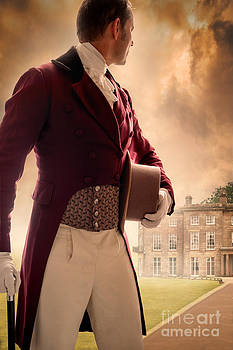 Victorian Man Looking Back Towards A Mansion House by Lee Avison