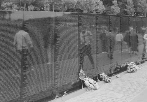 Vietnam Wall Reflections BW by Joann Renner