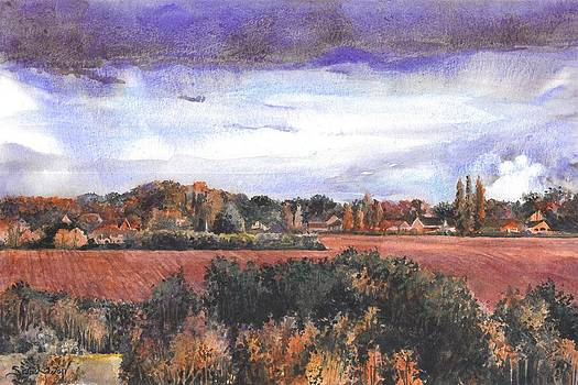 View from Cryfield Pavilion in the Autumn by Sarah Kovin Snyder