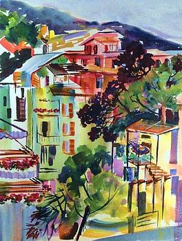 View from our Hotel Window Cinque Terre by Therese Fowler-Bailey