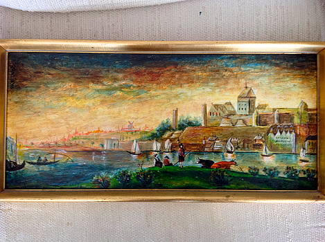 View of a Dutch town by the river. by Egidio Graziani