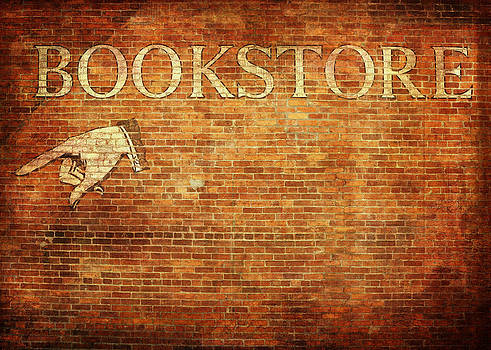 Vintage Bookstore Sign on Brick Wall by Brooke Ryan