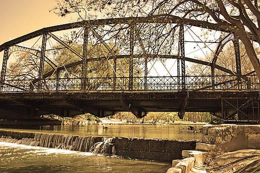 Vintage Bridge Over Waterfall by Brooke Fuller