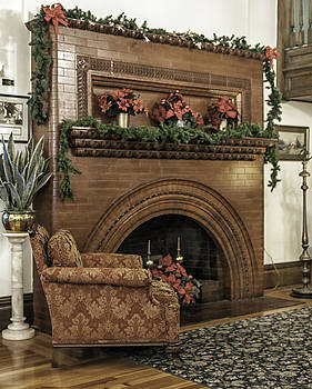 Lynn Palmer - Vintage Fireplace Decorated For Christmas