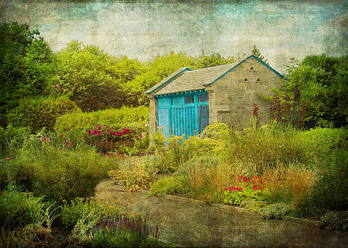 Vintage Inspired Garden Shed with Blue Door by Brooke Ryan