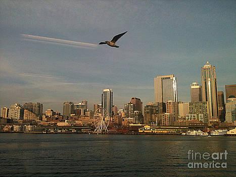 Vintage Seattle Skyline by Jackie Carr
