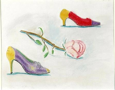 Vintage Shoes with Rose by Carmela Cattuti