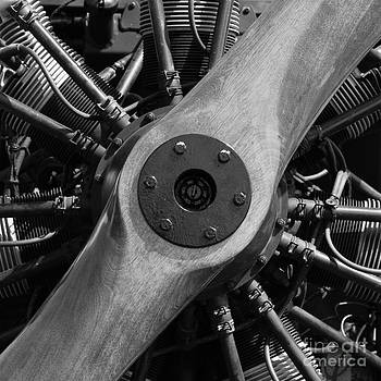Wingsdomain Art and Photography - Vintage Wood Propeller - 7D15828 - Square - Black and White