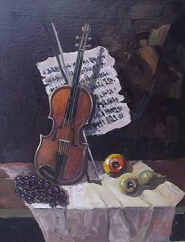 Violin and fruit by Charalampos Laskaris