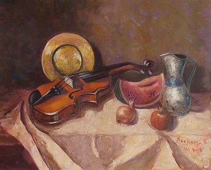 Violin and watermelon by Charalampos Laskaris
