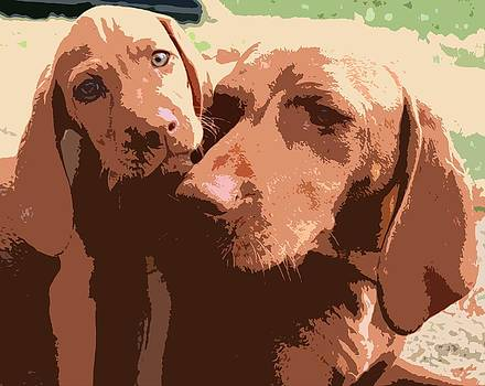 Viszla Mother And Puppy Portrait Abstract by Olde Time  Mercantile
