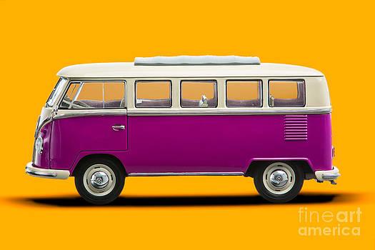 Volkswagen T1 Bus Bully Camper in pink on orange background by Daniel Osterkamp