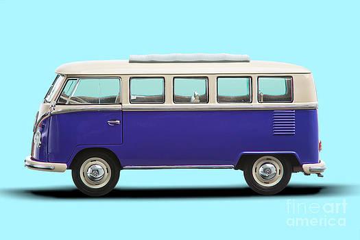 Volkswagen T1 Bus Bully Camper in purple on azul background by Daniel Osterkamp