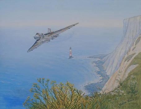 Vulcan XH558 Over Beachy Head by Elaine Jones