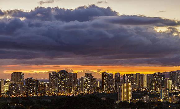 Waikiki and Honolulu Lights 1 by Leigh Anne Meeks