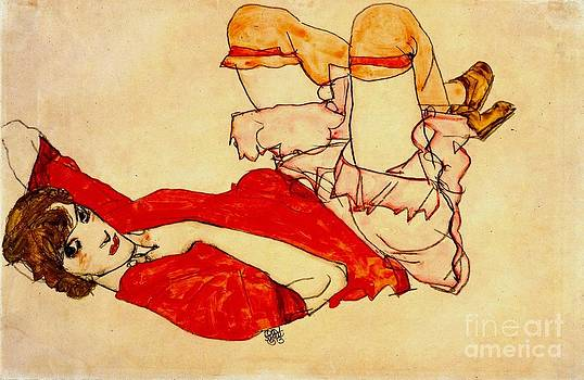 Roberto Prusso - Wally in red blouse raised knees