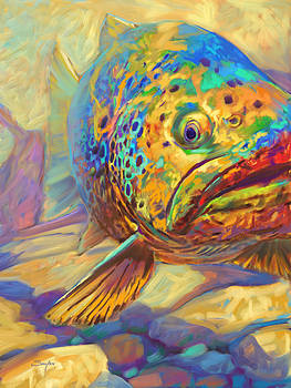 Walter's Pool - Brown Trout Painting by Savlen Art