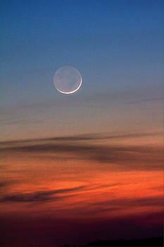 The Waning Spring Twilight Moon by David M Jones