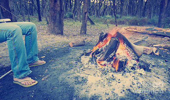Tim Hester - Warming Feet by Campfire Instagram Style