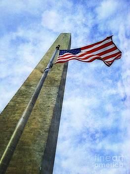 Washington Monument and Flag by Joseph J Stevens