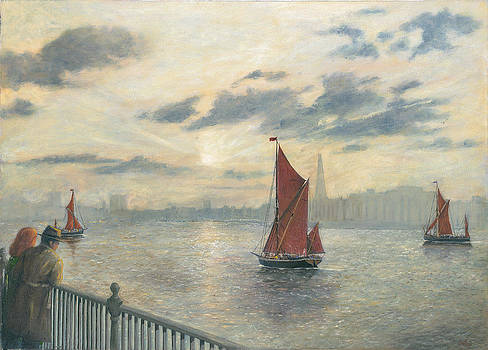 Watching Barges on the Thames River London by Eric Bellis