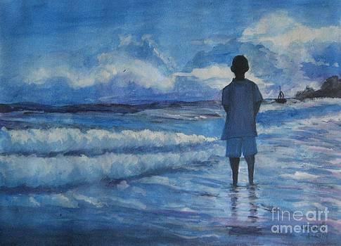 Watching the sea by Usha Rai