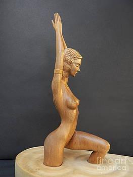 Water Nymph - Wood Sculpture of Naked Woman by Carlos Baez Barrueto