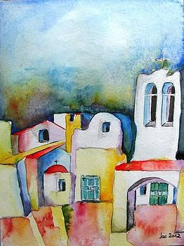 Watercolor ... meets Greek architecture by Jacqueline Schreiber