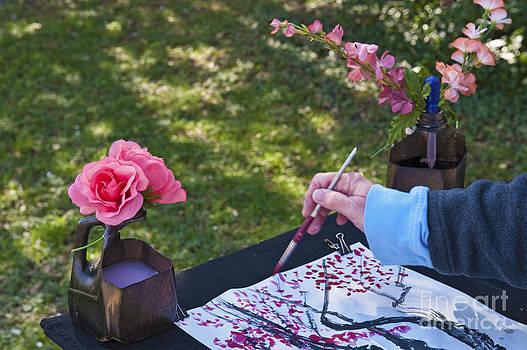 David  Zanzinger - Watercolor artist painting Cherry Blossoms trees Sakura Washington DC