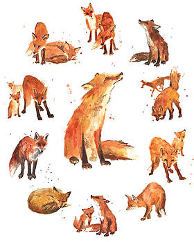 Watercolor Foxes by Alison Fennell
