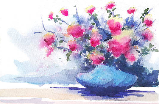 Watercolor Poppies Floral Burst by Andrew Fling