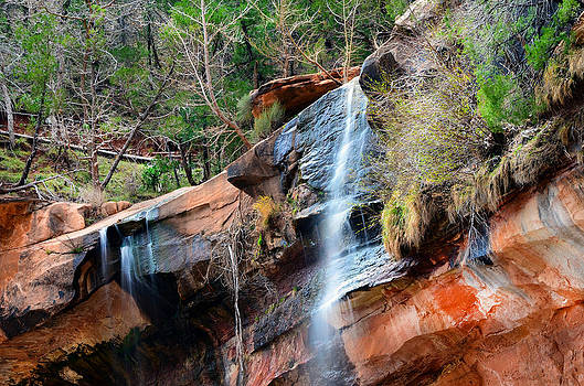 Waterfall at Emerald Pools in Zion Canyon by Rincon Road Photography By Ben Petersen