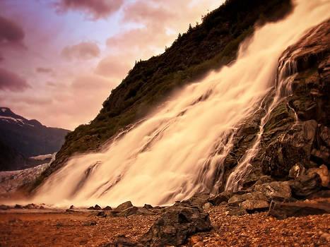 Waterfall at Mendenhall Glacier by Bill Boehm