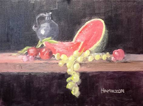 Watermelon and Plums - Still Life by Larry Hamilton