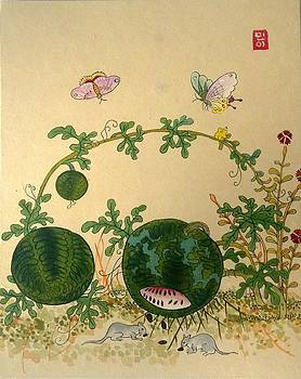 Watermelons And Butterflies by Minhwa Art