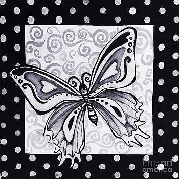 Whimsical Black and White Butterfly Original Painting Decorative Contemporary Art by MADART Studios by Megan Duncanson