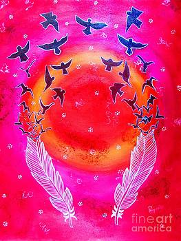 Whimsical Painting-Birds with Feather by Priyanka Rastogi
