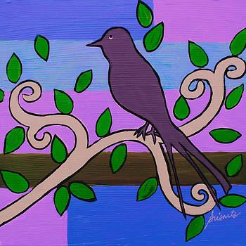 PRISTINE CARTERA TURKUS - WHIMSICAL PURPLE BIRD