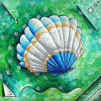 Whimsical Sea Scallop Shell Original Painting by Megan Duncanson by Megan Duncanson