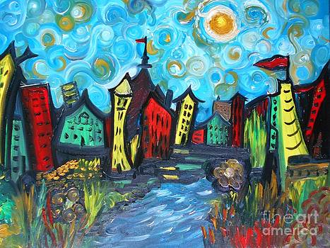 Whimsy Van Gogh Town by Rhonda Lee
