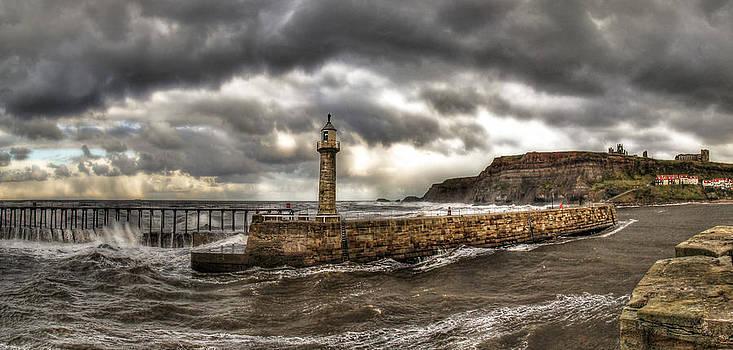 Whitby Pier Storm by Tony Partington