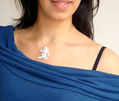 White Chinese Calligraphy Love Pendant Necklace by Rony Bank