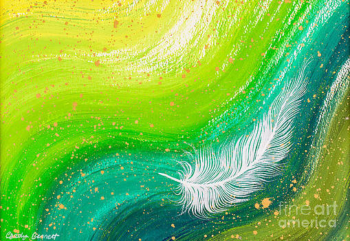 White feather green swirl painting by Carolyn Bennett by Simon Bratt Photography LRPS