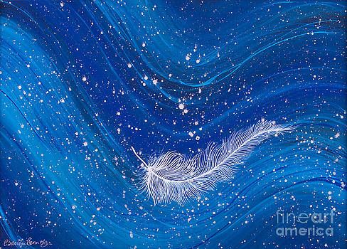 White feather on blue wave painting by Carolyn Bennett by Simon Bratt Photography LRPS