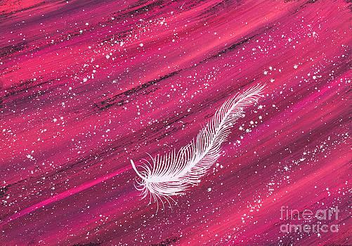 White feather on pink streak by Carolyn Bennett by Simon Bratt Photography LRPS