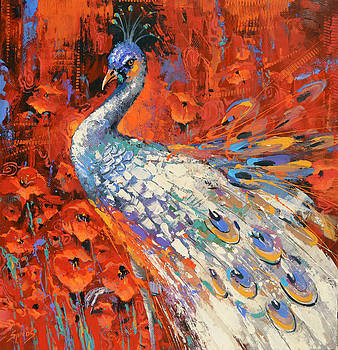 White peacock and poppies by Dmitry Spiros