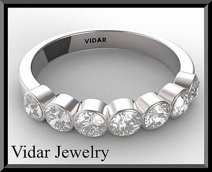 White Sapphire Half Eternity 14k White Gold Woman Wedding Ring by Roi Avidar