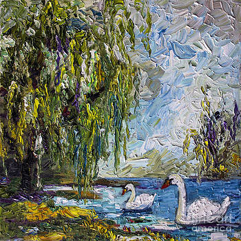 Ginette Callaway - Willow Tree and Swan Lake Oil Painting