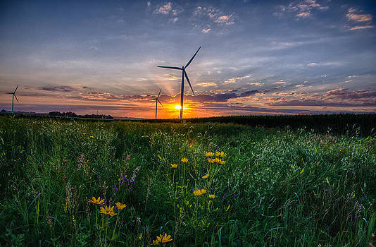 Windmill Sunset by Christopher L Nelson
